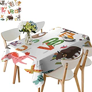 UHOO2018 Square/Rectangle Indoor and Outdoor Tablecloth Zoo Alphabet for Children Letters imals Restaurant Party,50 x 76inch