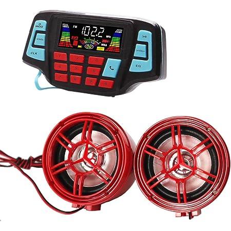 Flameer Bluetooth Waterproof Motorcycle FM Radio MP3 Audio Music Sound System Stereo Speakers Black