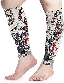 DSFGG Calf Compression Sleeve -Octopus Tattoo Premium Support Leg Socks for Runners