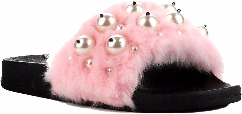 Cape Robbin Moira-12 Women Flip Flop Faux Fur Pearl Slide Slip On Flat Sandal shoes Slipper Pink