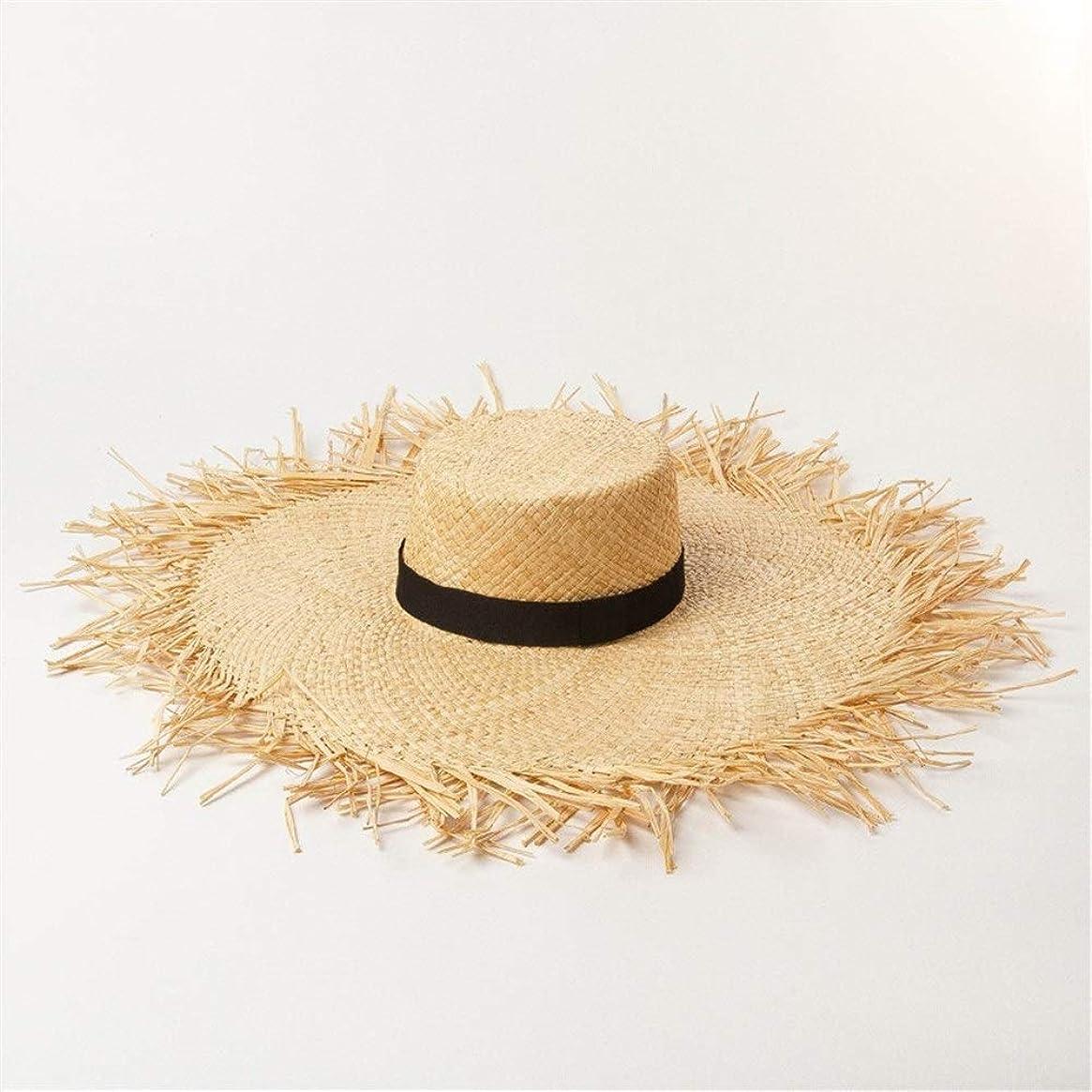 眠いです優勢添加ラフィット麦わら帽子に沿って大きな春と夏のリボン装飾トリミングフラットトップラフィット麦わら帽子に沿って日よけの休日