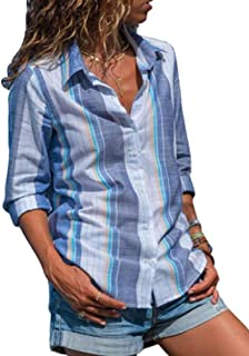 maweisong 女性のストライプボタンスリーブロングロールアップスリーブシャツ