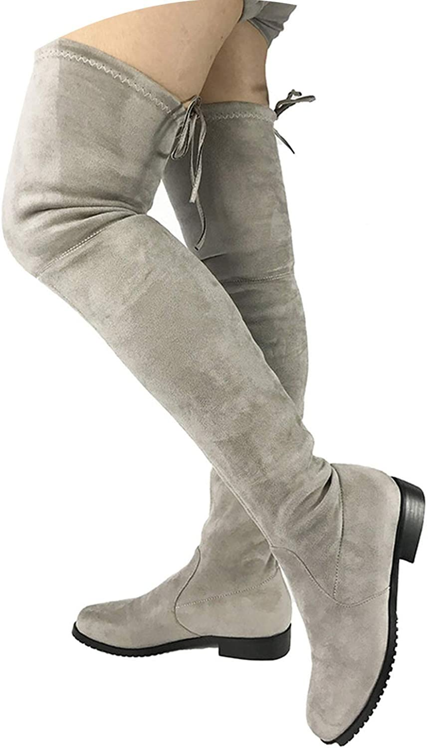 Crazy-Shop Thigh High Flat Boots Women Over The Knee Boots Fall Winter Faux Suede Boots shoes Woman