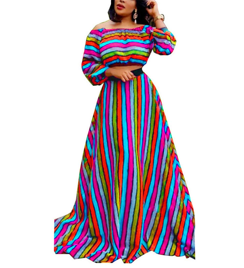 Available at Amazon: Women's 2 Pieces Outfits Striped Off Shoulder Long Sleeve Tops Shirts + Maxi Swing Skirt Set