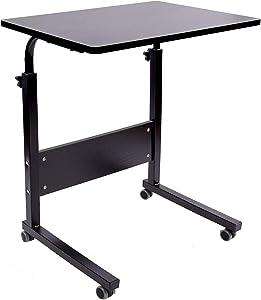 AIZ Portable Desk, Rolling Desk Portable Laptop Desk with Wheels, Laptop Cart Desk Cart Adjustable Side Table, Small Laptop Desk Tray Table Sofa Desk Bedside Table, Black 23.6x15.7 inch