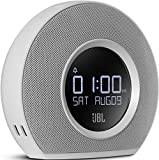 JBL Horizon Radiosveglia FM Doppia, Wireless, Bluetooth con Ricarica Mediante Dock USB e Luce LED Ambiente, Sveglia Sunrise, Compatibile con Smartphone Apple iOS e Android, Tablet e Dispositivi MP3, Bianco
