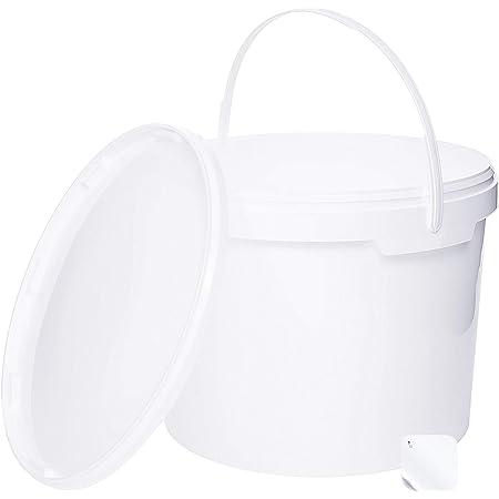 5 seaux de 10 litres avec couvercle blanc, seaux à lait/stockage empilables, seaux à miel, seaux en plastique avec agrément alimentaire, récipients alimentaires, seaux vides pour farine, seaux à eau, 5 pièces