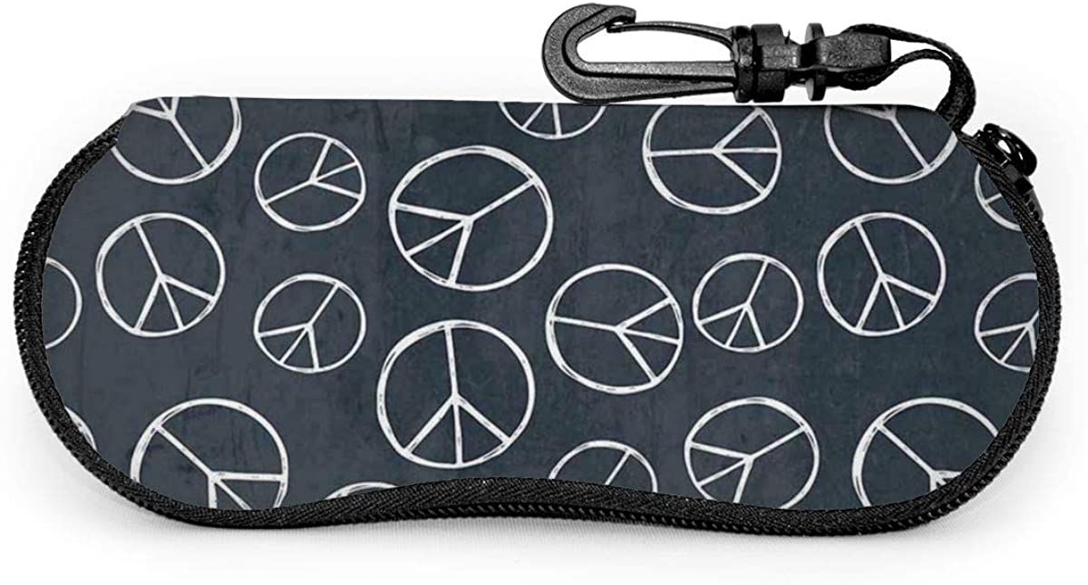 Hippy Pacific Sign Hippie Peace Sign Sunglasses Soft Case Ultra Light Neoprene Zipper Eyeglass Case With Key Chain