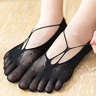 Yoga Socks Five-Finger Stockings Velvet Ultra-Thin Mesh Socks Invisible Boat Socks Women's Toe Socks 5 Pairs