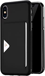 Back cover for Apple Iphone X Soft feel anti fall Case With Card Slots protective sleeve Black