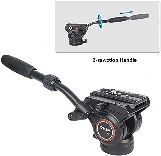 Cabezal de Fluido trípode de cámara de Video Cayer H4 Cabezal de Arrastre de Fluido para cámara Canon Nikon Sony Olympus Panasonic DSLR con Tornillo de Montaje de 3/8y 1/4 manija de 2 Secciones