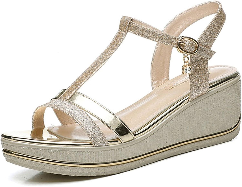 HY Seali estivi Donna Tac  alti Sexy impermeabile piattaforma parola fibbia Open Toe Ladies tac  alti (Coloreee   oro, dimensioni   35)