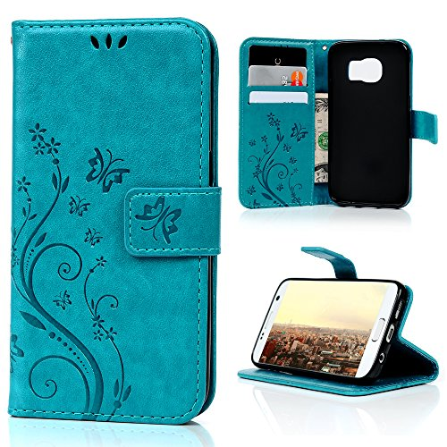 MOLLYCOOCLE Galaxy S7 Case (Not Galaxy S7 Edge) Blue Butterfly PU Leather Wallet Purse Credit Card ID Holders Design Flip Folio TPU Soft Bumper Ultra Slim Fit Cover for Samsung Galaxy S7