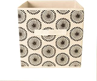 TRADE Non-Woven Fabric Foldable Drawer Bins Storage Cubes Basket Organiser Box with Handles for Toys Clothing Storage  28cm 28cm 28cm  Black Sun Flower