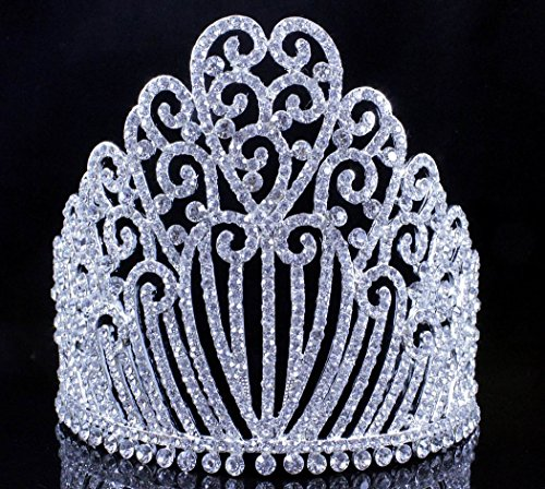 5.25'h Clear White Austrian Crystal Rhinestone Tiara With Hair Combs Crown Headband Headpiece Queen Princess Pageant Party Theater Show Silver T11990