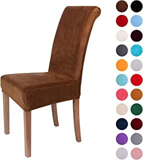Colorxy Velvet Spandex Fabric Stretch Dining Room Chair Slipcovers Home Decor Set of 4, Camel