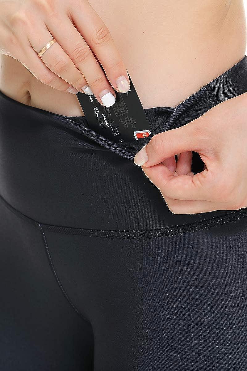 YGOODM Womens High Waist Print Yoga Pants Plus Size with Hidden Waistband Pocket Non-See-Through Workout Capri Leggings