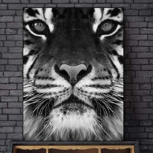 N / A Frameless canvas wall painting works living room mural pictures animal poster print tiger prints family frameless decorative painting A116 70x100cm