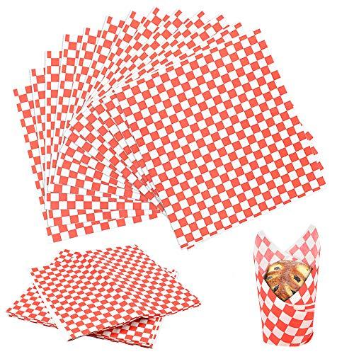 UTRUGAN 100 Sheets Lebensmittelverpackungs Papier Lebensmittel Wrapping Papers 28 * 26 cm Lebensmitteln Wachspapier Sandwich Hamburger Wrap Fettdichtes Papier für Hamburger, Pommes Frites
