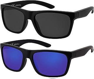 La Optica B.L.M. - La Optica Gafas de Sol LO8 UV400 Deportivas da Hombre y Mujer, Mate Negro (Lentes: 1 x Gris, 1 x azzul espejada)