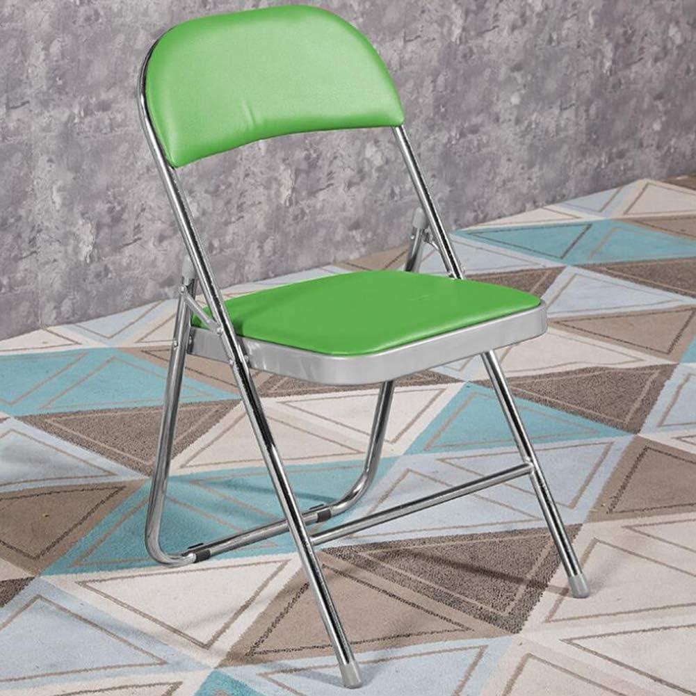 YCSD Accueil Chaise Pliante Améliorée Siège Pliable D'intérieur avec Tuyau en Acier épaissi Antirouille Et Coussin en Vinyle Rembourré(Color:Vert foncé) Vert
