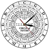 Grande orologio da parete silenzioso Non ticking Un quinto circolo di musicisti compositori musica sussidio didattico orologio da parete moderno musicista armonia teoria ricerca musicale orologio
