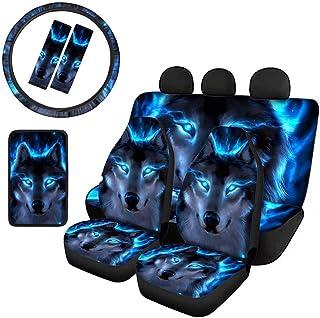 Youngerbaby Conjunto de capa de assento de carro Blue Flame Wolf com capa de console central de carro + capa de volante de...