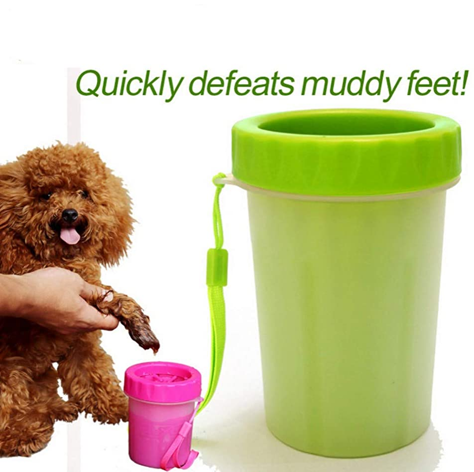 宣伝主に思想犬足洗いブラシカップ ペット足用クリーナー 犬の爪マッサージ 小/中/大型犬/猫 シリコーン 携帯便利 柔軟 軽い 安全 清掃が易い 小さいハンドストラップ付き (グリーン)