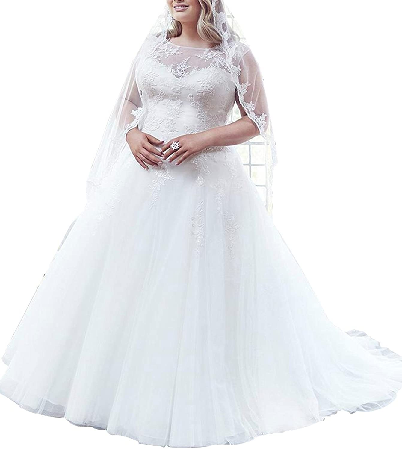 Vivibridal Women's Sheer Half Sleeve Plus Size Wedding Dresses Lace Bridal Gowns