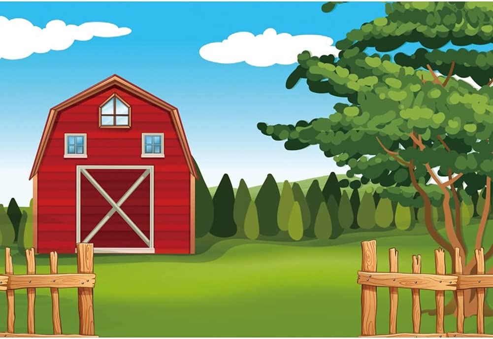 Haoyiyi 9x6ft Red Barn Photography Ultra-Cheap Deals Green New arrival Background Farm Cartoon