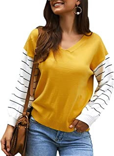 MOSHENGQI Women's Casual Striped Long Sleeve Tops Color Block Knit Pullover Sweater