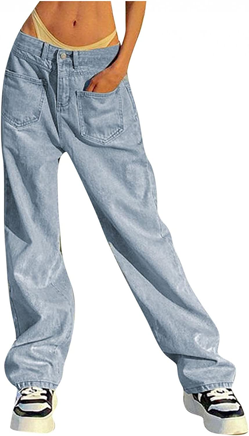 Women's Baggy Straight Jeans Low Waisted Pocket Stretch Wide Leg Denim Pants Casual Distressed Vintage Jeans Trousers