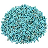 turquoise healing crystal - rockcloud 1 lb Howlite Turquoise Small Tumbled Chips Crushed Stone Healing Reiki Crystal Jewelry Making Home Decoration