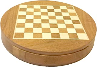 CCIC Handicraft Chess Board Drawer Round SHEESHAM Wood Magnet 9 INCH Diameter and Colors