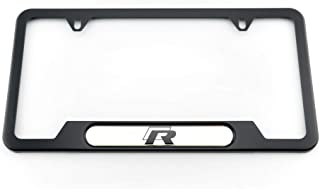Genuine Volkswagen R-Line License Plate Frame - Stainless Steel with Black Finish