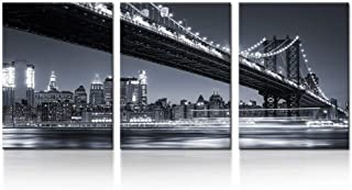 iKNOW FOTO 3 Piece Modern Black and White New York City Wall Art Manhattan Skyline Bridge at Night Pictures on Canvas Print Painting Home Decoration Framed Art Work for Living Room 12x16inchx3pcs