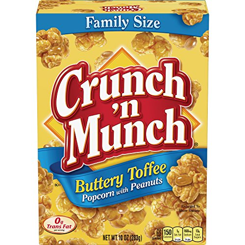 New CRUNCH 'N MUNCH Buttery Toffee Popcorn with Peanuts, 10 oz. (Pack of 6)