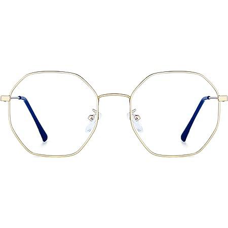 JM Lunettes Optiques Anti Lumière Bleue Designer Mode Cadre en Métal Lunettes de Vue Polygone Protection des Yeux Femmes