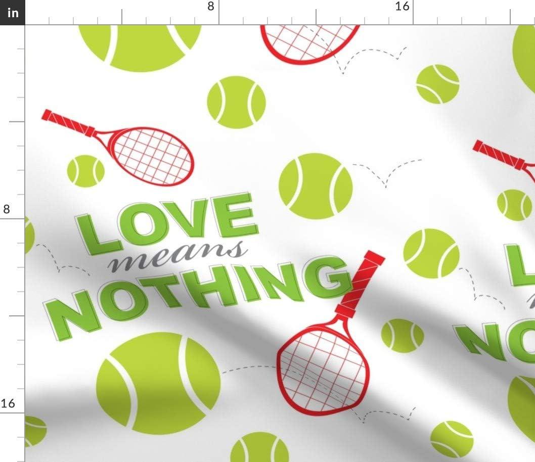 Spoonflower Fabric 購入 - Love Green Balls Sports 卓越 Tennis Printed Red