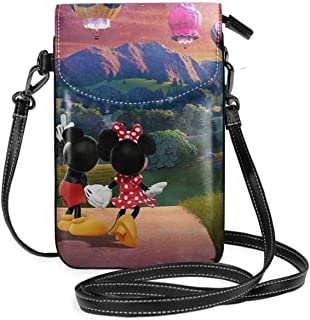 Womens Crossbody Bags - Hot Air Balloon Mickey And Minnie Small Cell Phone Purse Wallet With Credit Card Slots