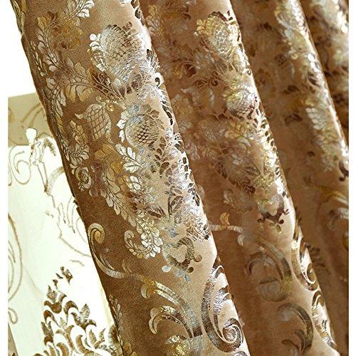 1 Panel European Style Velvet Gold Curtains Room Darkening Luxury Curtains for Villa (1 x 54x96 Inch)