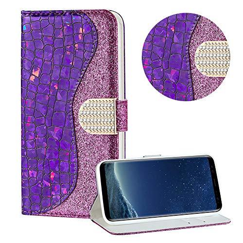 Diamant Brieftasche Hülle für Galaxy S8,Lila Wallet Handyhülle für Galaxy S8,Moiky Ultra Dünn Stilvoll Laser Glitzer Farbe Block Klappbar Stand Silikon Handytasche