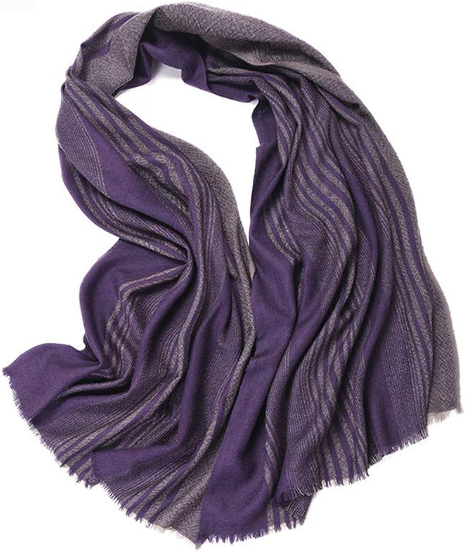 AFBLR shawl bib shawl cloak Pure wool scarf simple worsted striped shawl, light purple