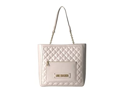 LOVE Moschino Shinny Quilted Tote (Ivory) Handbags
