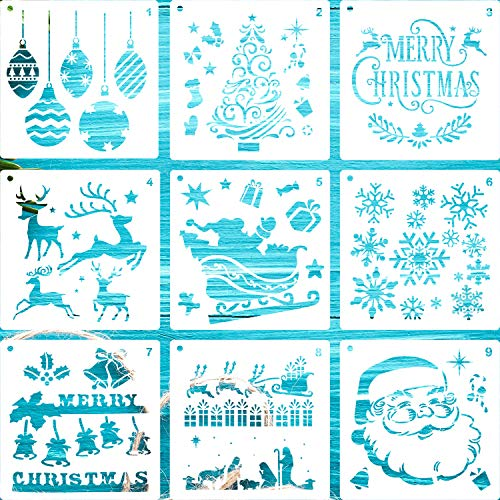 LLGLTEC 9 Pieces Christmas Stencils Template DIY Xmas Stencils Designs 7.9''x7.9'' Extra Large Reusable Plastic DIY Drawing Crafts for Painting on Wood, Paper, Fabric, Glass, Wall Art