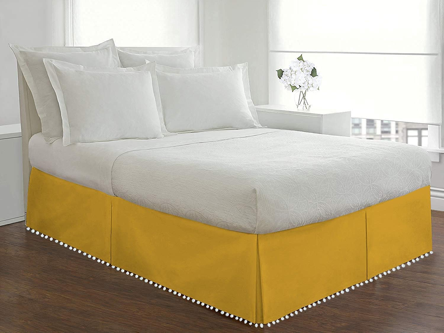 Idle Decor Pom Tailored BedSkirt 100% Th Egyptian Indefinitely Portland Mall 800 Cotton