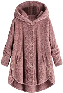 Womens Coat Side Button Fluffy Tail Tops Hooded Loose Warm Pullover Sweater