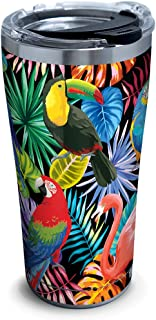 Tervis 1294872 Tropical Collection Birds Stainless Steel Insulated Tumbler with Clear and Black Hammer Lid, 20oz, Silver