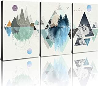 Abstract Mountain Wall Decor Bathroom Canvas Prints Wall Art Geometry Triangle Hills Teal Blue White Framed Artworks Painting Poster Picture Living Room Bedroom Home Decorations Kit 3Pcs 12x16 Inch