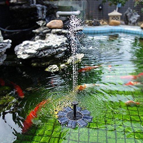 Denret3rgu Solar Power Fountain Water Pump Floating Panel Garden Pool Pond Watering Kit - Black